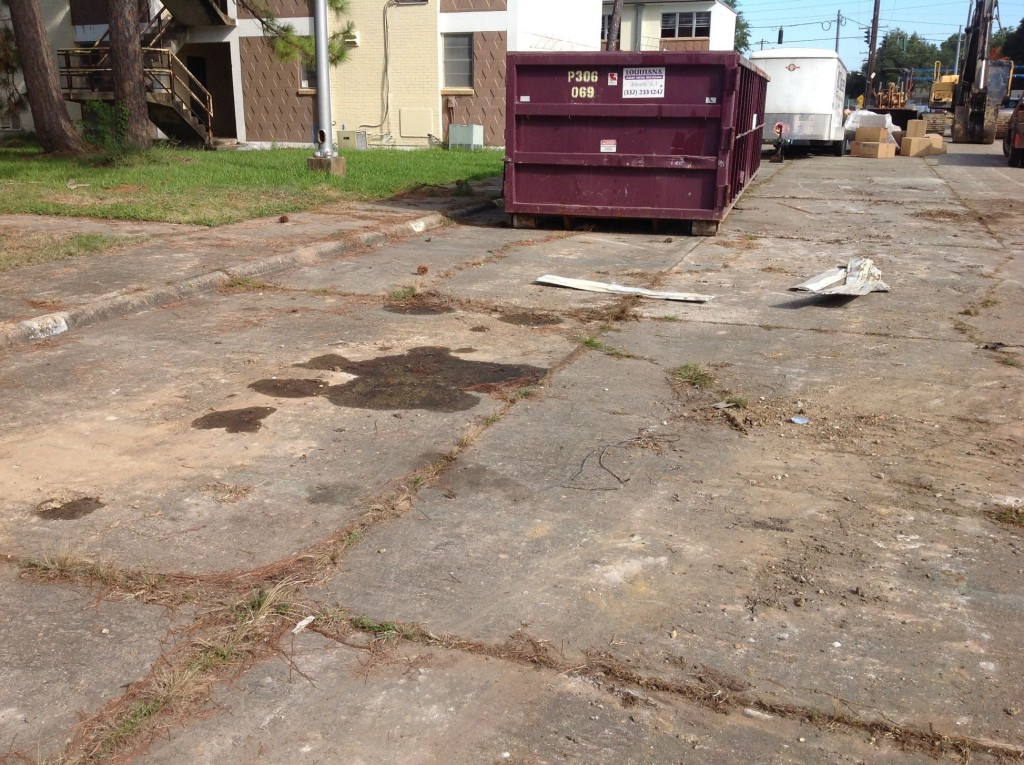 clean up leaks & stained soil/pavement should happen right away